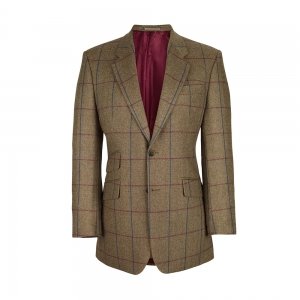 Tan/Blue/Wine Check Tweed Jacket