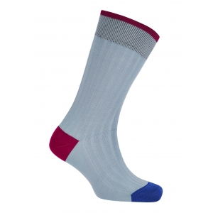 Trimmed Sky And Fuchsia/Blue Cotton Socks