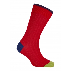 Trimmed Red And Marine/Green Cotton Socks