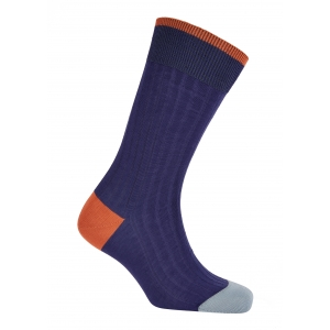 Trimmed Blue And Orange/SkyBlue Cotton Socks