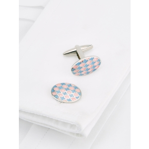 Blue Enamel Oval Cufflinks