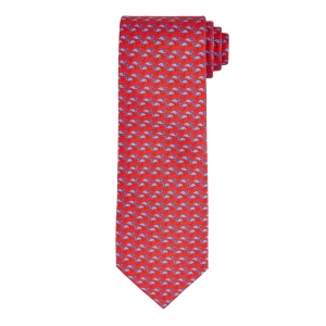 Red and Blue Flamingo Silk Tie