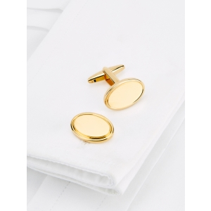 Gold Plated Oval Cufflinks