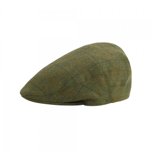 Green and Orange Check Tweed Cap