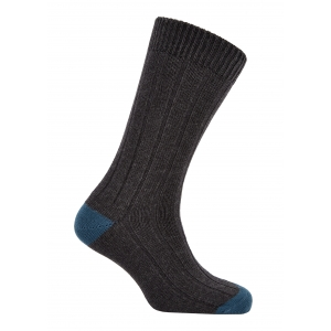 Dk Grey And Blue Winter Cotton Heel And Toe Socks