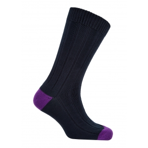Navy And Violet Cotton Heel And Toe Socks
