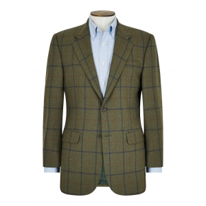 Green/Navy/Rust Window Pane Jacket