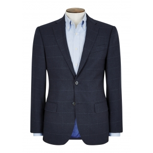 Tailored Fit Navy Window Pane Jacket