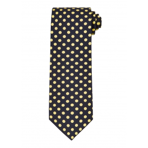 Navy and Yellow Polka Dot Tie