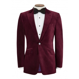 Men's burgundy velvet jacket
