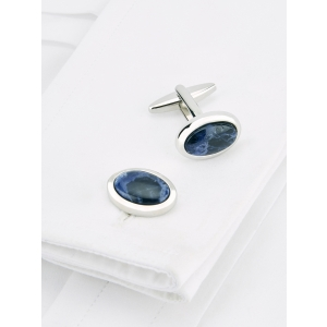Navy Oval Sodalite Cufflinks
