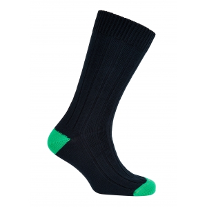Navy And Green Cotton Heel And Toe Socks