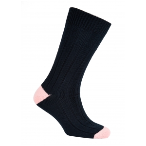 Navy And Pink Cotton Heel And Toe Socks