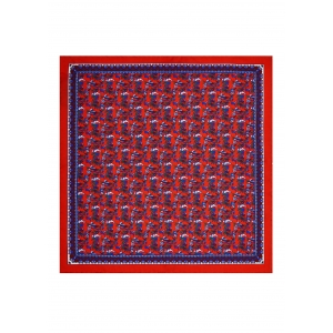 Red Exotic Birds Silk Pocket Square