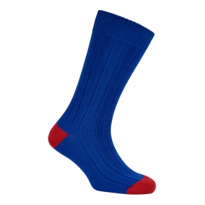Royal And Red Cotton Heel And Toe Socks