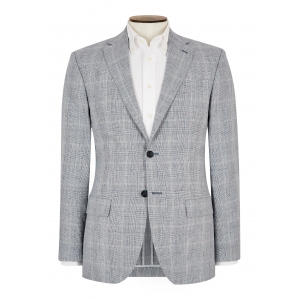 Tailored Fit Sky Glen Check Jacket