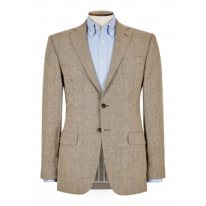 Tailored Fit Tan Glen Check Jacket
