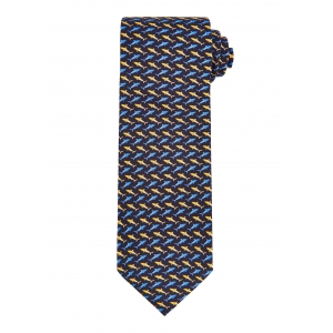 Navy and Yellow Shark Tie