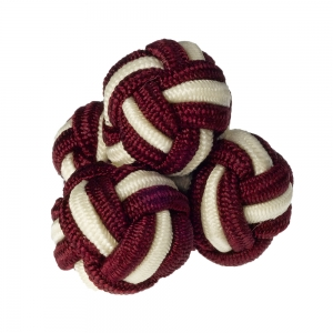 Burgundy & White Silk Knots