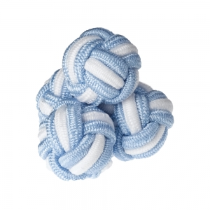 Blue & White Stripe Silk Knots