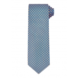 Blue and Gold Spot Circle Tie