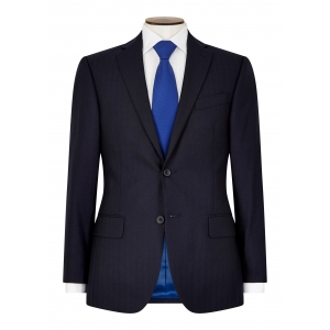 Tailored Fit Navy Herringbone Suit