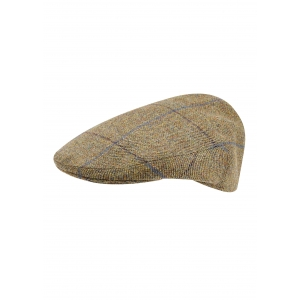 Tan, Navy and Blue Flat Cap