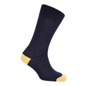 Navy And Yellow Merino Socks