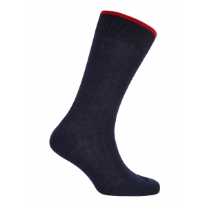 Trimmed Navy And Red Merino Socks