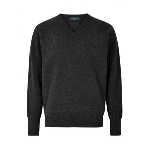 Charcoal Lambswool V Neck Sweater