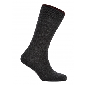 Trimmed Charcoal And Wine Merino Socks