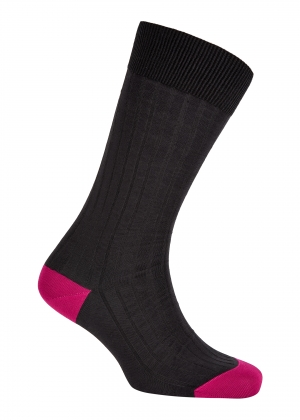 Grey And Fuchsia Cotton Socks