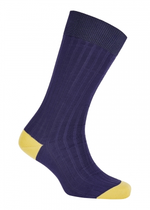 Blue And Yellow Cotton Socks