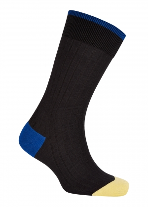 Trimmed Grey And Royal/Yellow Cotton Socks