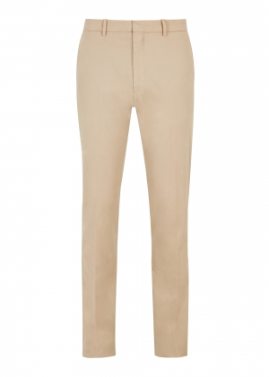Beige Peached Cotton Trousers