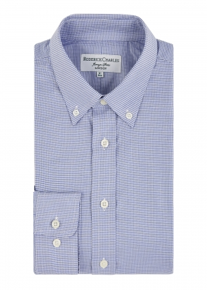 Blue Button Down Houndstooth Shirt
