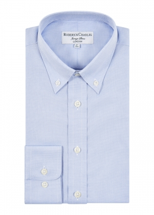 Blue Oxford Cotton Button Down Shirt