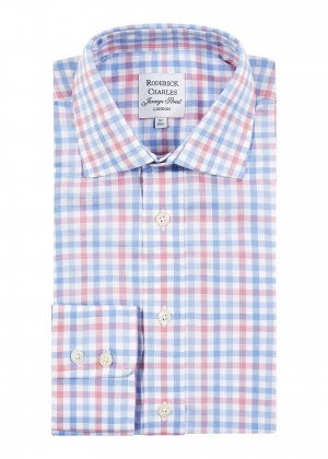 Blue/Pink Twill Check Shirt