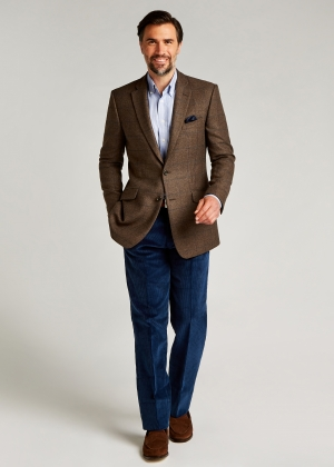 Tailored Fit Brown/Navy Windowpane Jacket