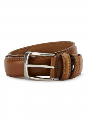 Edge Stitched Tan Belt