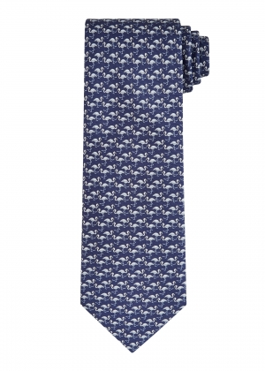 Navy Flamingo Silk Tie