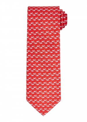 Red and Silver Flamingo Silk Tie