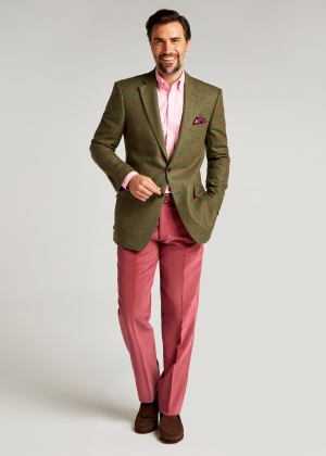 Tailored Fit Green/Pink Windowpane Jacket
