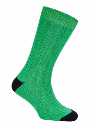 Green And Navy Cotton Heel And Toe Socks