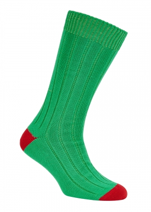 Green And Red Cotton Heel And Toe Socks