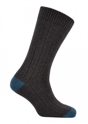 Dk Grey And Blue Cotton Heel And Toe Socks