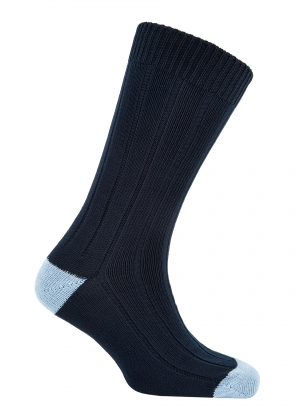 Navy And Sky Winter Cotton Heel And Toe Socks