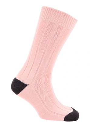 Rose And Dark Grey Cotton Heel And Toe Socks