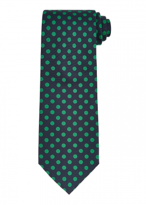 Navy and Green Polka Dot Tie