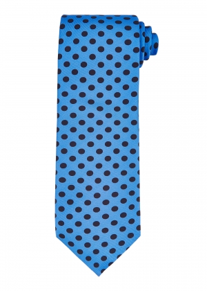 Pale Blue and Navy Polka Dot Tie